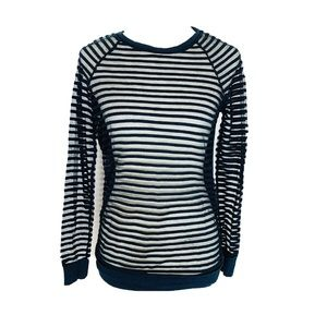 Hi-Line Madewell Black Sheer Striped Top Small